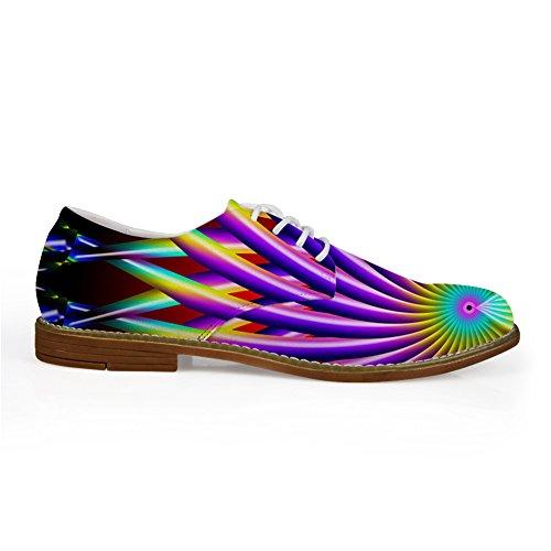 HUGS IDEA HUGSIDEA Flags Pattern Vintage Mens Oxford Flats Lace Up Shoes Purple OsiLrQGO