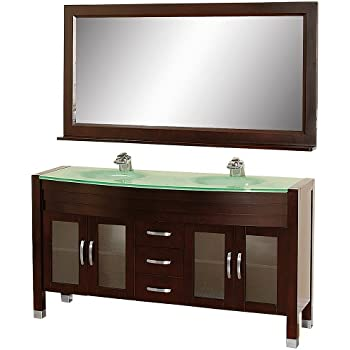 This Item Wyndham Collection Daytona 63 Inch Double Bathroom Vanity In Espresso With Green Glass Top With Green Integral Sinks