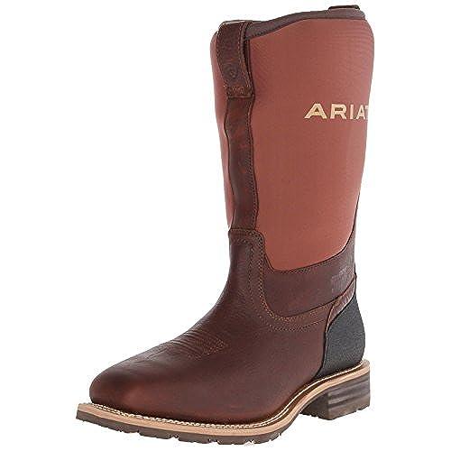Ariat Men's Hybrid All Weather Steel Toe Western Cowboy Boot, Oiled Brown/Brown  Neoprene, 11.5 M US