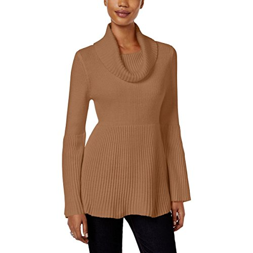Style & Co. Womens Ribbed Detail Long Bell Sleeves Pullover Sweater Brown L