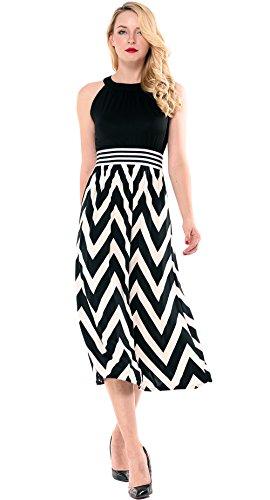 - Amoretu Summer Sleeveless Chevron Striped High Waist Halter Midi Dress for Women (Black, Large)