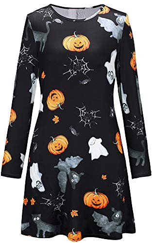 Halloween Horror Nights 13 (For G and PL Halloween Women Skull Horror Bodycon Scary Party Wear Mid Longsleeve Costumes Dress Black)