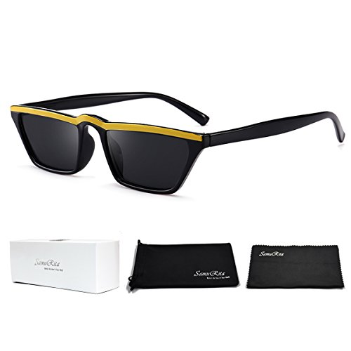 SamuRita Small Retro Square Cat Eye Sunglasses Mod Stylish UV400 Shades - Mens Square Small Sunglasses