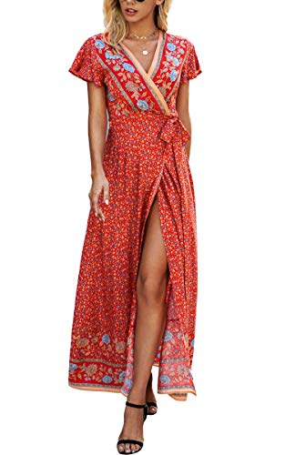 ECOWISH Women's Dresses Bohemian Wrap V Neck Short Sleeve Ethnic Style High Split Beach Maxi Dress Green Medium
