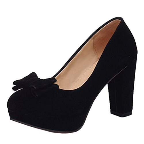COOLCEPT Zapatos Mujer Moda Bow Tie High Chunky Heel Vestir Bombas Zapatos Negro