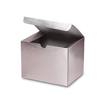 Amazon.com: Cartón plateado metálico cajas de regalo 6