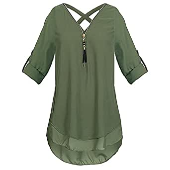 25603d2020a6 OrchidAmor Womens V Neck Zipper Solid Chiffon T-Shirts Casual Loose ...