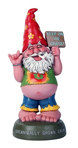 Pacific Giftware Hippie Gnome Pot Smoking Keep On Grass Garden Gnome Statue 10H ()