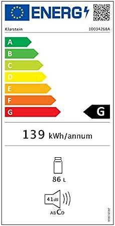 Klarstein Beerlager 88 Nevera para bebidas - 88 litros, 33 botellas, Eficiencia energética Glase G, altura 86,5 cm, puerta de vidrio y acero inoxidable, temperatura: 0-10 °C, control táctil, Negro[Clase de eficiencia energética G]