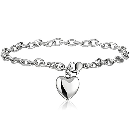 Jstyle Jewelry Women's Stainless Steel Chain Bracelet with Heart Charm,7.48