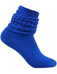 Royal Blue Slouch Scrunchy Heavy Fitness Long Ribbed Winter Socks