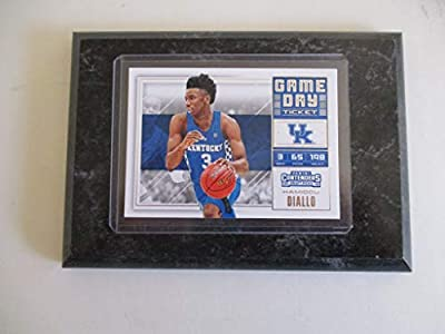 """Hamidou Diallo Kentucky Wildcats Panini Contenders Nba 2018""""game Day"""" Draft Picks (blue Jersey) Player Card Mounted On A 4"""" X 6"""" Black Marble Plaque"""