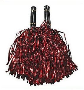 Red Metallic Foil Poms Cheerleading