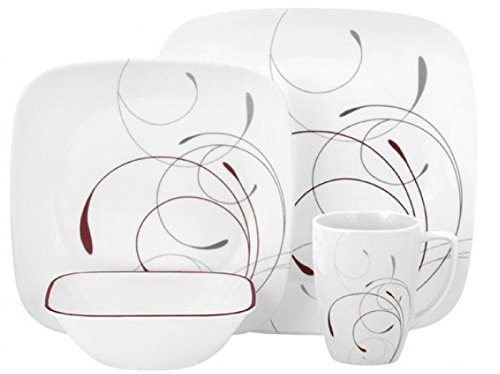 Corelle Square 16-Piece Dinnerware Set, Splendor, Service for 4 (16 Set Piece Dinnerware Square)