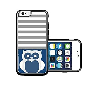 RCGrafix Brand Owl Black Dark Blue & Grey Stripes White iPhone 6 Case - Fits NEW Apple iPhone 6