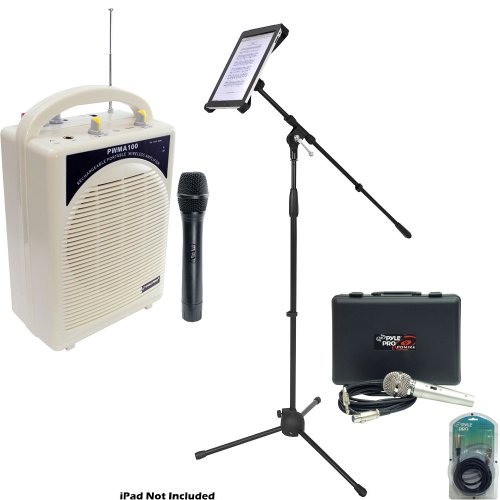 Pyle Speaker, Mic, Cable and Stand Package - PWMA100 Rechargeable Portable PA System with Wireless MIC - PDMIK4 Dynamic Microphone with Carry Case - PMKSPAD1 Multimedia Microphone Stand With Adapter for iPad 2 (Adjustable for Compatibility w/iPad 1) - PPF by Pyle