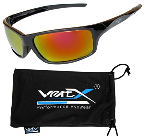 VertX Men's Polarized Sunglasses Sport Cycling Running Outdoor – Black Frame – Orange - Lens Sunglasses Orange