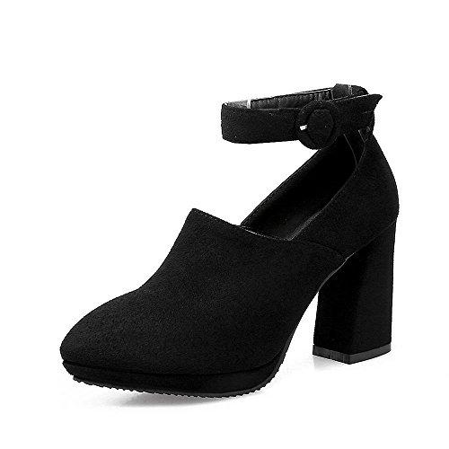 Plataforma Alto Mujer con Zapatos con Gruesa Gamuza Zapatos de Para GJDE Cinturón de Hebilla Black del Tacon Tacón Moda alto xAYwBnI40