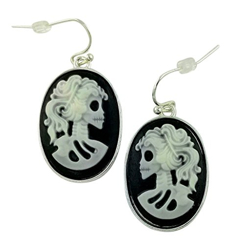 Gothic Cameo Skull Black & White Earring Set | Halloween Jewelry Fashion Drop Dangle Style Classy Scary