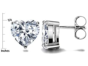 Star K Sterling Silver 7mm Heart Shape Earrings Studs by Star K