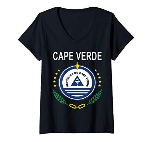 - Womens Cape Verde National Coat of Arms Design V-Neck T-Shirt
