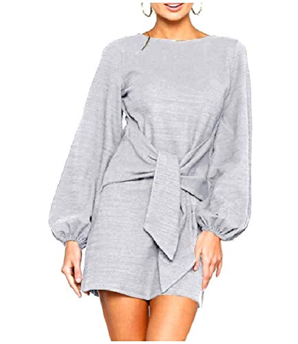 Grey Elegent Sleeve Back Howme Cotton Solid Bishop Dresses Knotted Women ztn6q5
