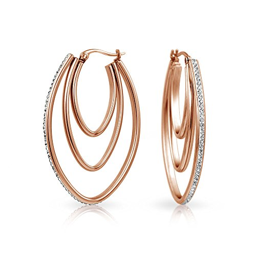 Pave Crystal Oval Boho Fashion Statement Big Hoop Earrings For Women For Teen Silver Rose Tone Stainless Steel