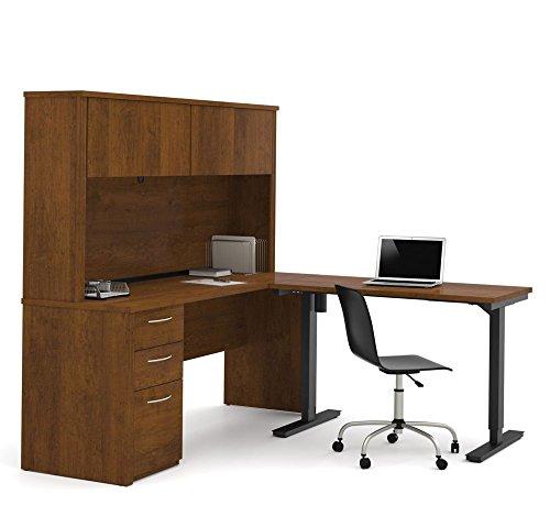 L Desk Hutch w/Adj Return Tuscany Brown/Black Frame Weight: 345 - Brown L-desk Tuscany