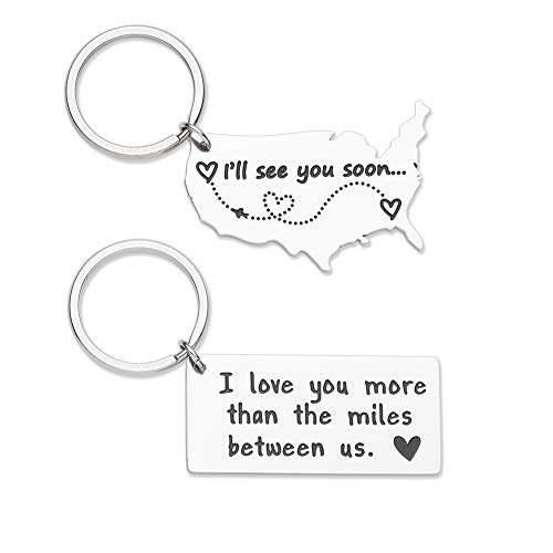 Long Distance Keychain Gifts for Boyfriend Girlfriend Going Away Gift Couple Keychain Christmas Anniversary Birthday Valentine Day Gifts I Love You More Than The Miles Between Us(2pcs) (Gift Ideas For Girlfriends Parents For Christmas)
