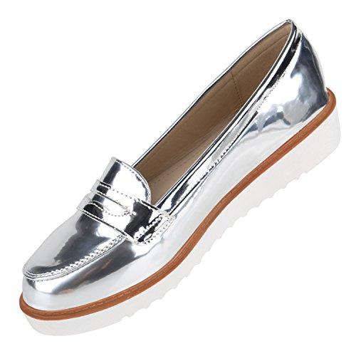 Damen Quasten Silber Flandell Loafers Metallic Stiefelparadies mit Slippers Metallic Keilabsatz Lack ZacxTwZdqf
