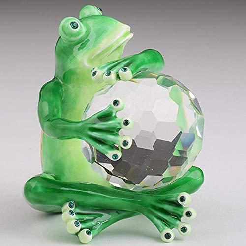 Keren Kopal Green Frog with Crystal Ball Trinket Box Decorative Box Collectors Unique Gift Handmade