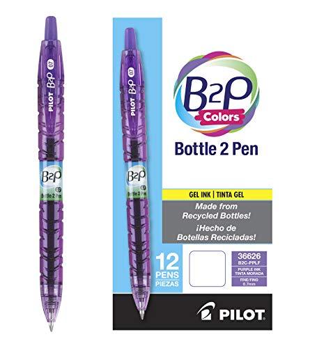 Pilot B2P Colors - Bottle to Pen - Retractable Gel Roller Pens Made from Recycled Bottles, Fine Point, Purple Ink/Barrel, Dozen Box (36626)