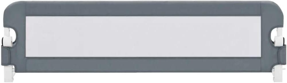 Barandilla de Cama Abatible 150 x 42 cm, Barrera de Seguridad Plegable de Cama para niños de 18 Meses a 5 años, Gris