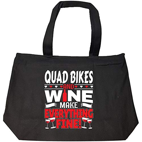 Quad Bikes and Wine make everything Fine Funny ATV Gift - Fashion Zip Tote Bag -