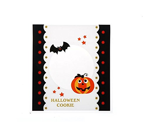 Cute Halloween Baking Ideas (100 Bags Halloween Cute Biscuits Snack Baking Package Self Adhesive Gift Cookies Bags)