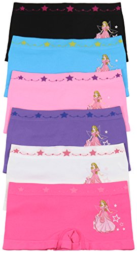 ToBeInStyle Girls' 6 Pack Graphic Design Boyshorts - Starry Princess - Medium by ToBeInStyle