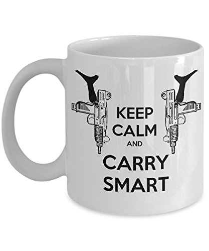 Keep Calm and Carry on 'Chuck Norris' Inspired Mug, Smart Carry, Dual Uzi, Sarcastic Coffee Mug, Cool Mugs, Gun Control - 11 oz. White Ceramic - Uzi Marui