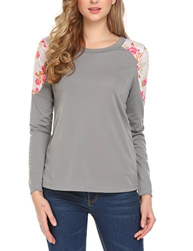 SE MIU Women Round Neck Floral Print Patchwork Sleeve Casual T-Shirt Blouse Gray - Miu Sale Miu Clothing
