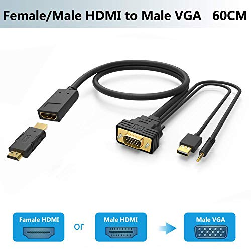 Female/Male HDMI to VGA Adapter Cable with Audio,Universal Active HDMI-VGA Converter/Connector Cord 1080P for PS4,Xbox,TV Stick,PC,Laptop to Monitor,Projector,Adaptador/Convertidor HDMI Out to VGA in (Vga Power Connector)