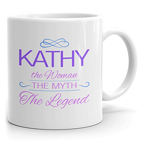 Kathy Coffee Mugs - The Woman The Myth The Legend - Best Gifts for Women - 11oz White Mug - Purple