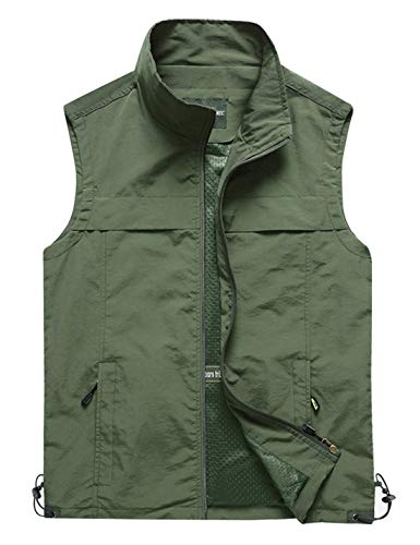 (Yimoon Men's Outdoor Lightweight Fishing Safari Travel Zip Vest (02 Army Green, X-Large))