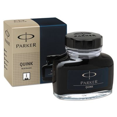 Parker : Super Quink Permanent Ink for Parker Pens, 2-oz. Bottle, Blue-Black -:- Sold as 2 Packs of - 1 - / - Total of 2 Each (Bottle Sanford Ink Black)