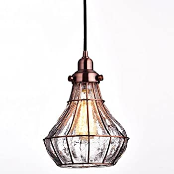 YOBO Lighting Vintage Cracked Glass Wire Cage Hanging Pendant ...