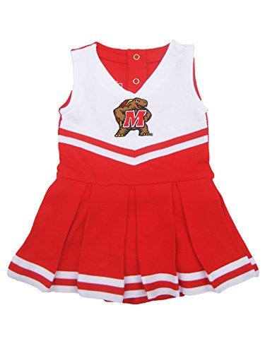 University of Maryland Terp Newborn Baby Cheerleader Bodysuit Dress Red 0-3 (Baby Infant Cheerleader Dress)