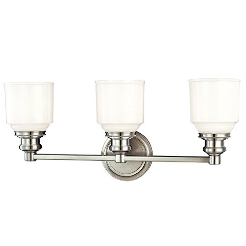 Windham 3-Light Vanity Light - Polished Nickel Finish with Opal Glossy Glass (Classical 3 Light Vanity Fixture)
