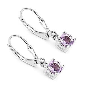 0.90 Carat Genuine Pink Amethyst .925 Sterling Silver Earrings