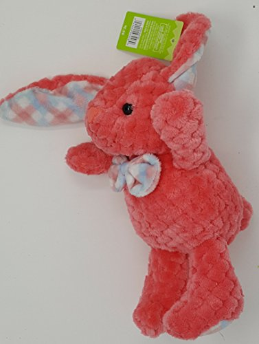 Trim Bunny - 9 inch Watermellon Pink waffle plush Bunny with plaid trim with 6 inch ears