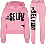 Kids Girls Tracksuit Designer #Selfie Hooded Crop Top & Bottom Jog Suit 5-1