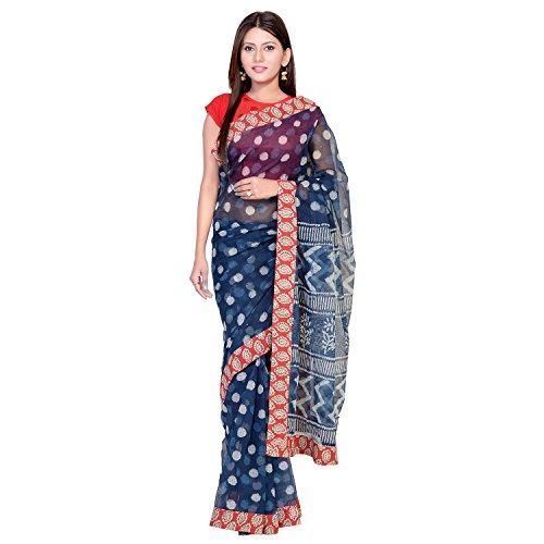 (Panvi Kota Doria Cotton Saree with Blouse Peice (Hand Block Printed Indigo Blue&Bagru Print lace P-95_Free Size))