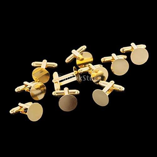 5 Paris - Cufflinks Brass Blank Cuff Links Findings 16mm Mens Shirt Wedding Business Square Gold Bluemoona 10 Pcs